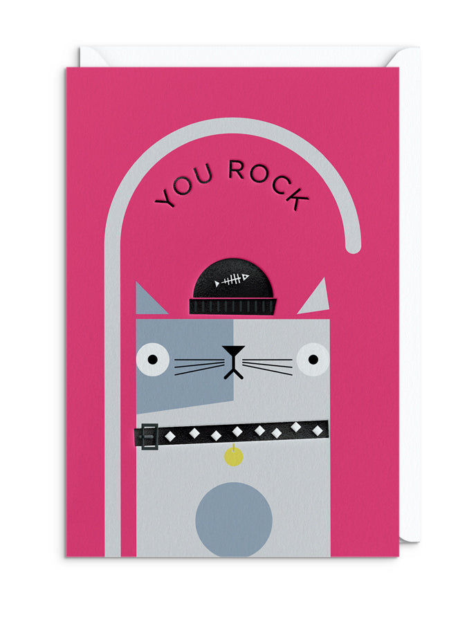 BERT ILLUSTRATES Cats in Hats - ROCK CAT GREETING CARD