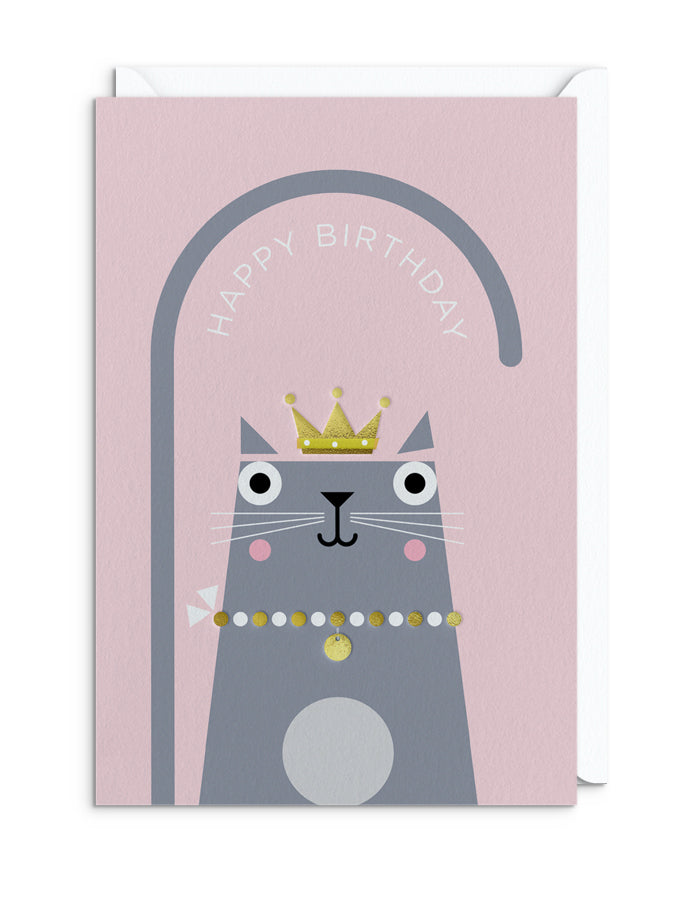 BERT ILLUSTRATES Cats in Hats - PRINCESS CAT GREETING CARD