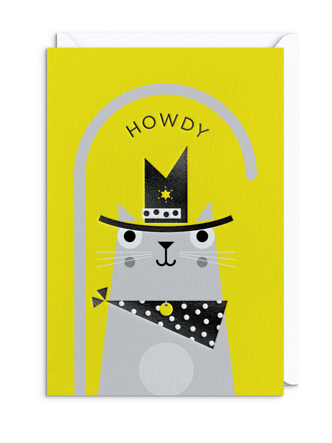 BERT ILLUSTRATES Cats in Hats - HOWDY CAT GREETING CARD
