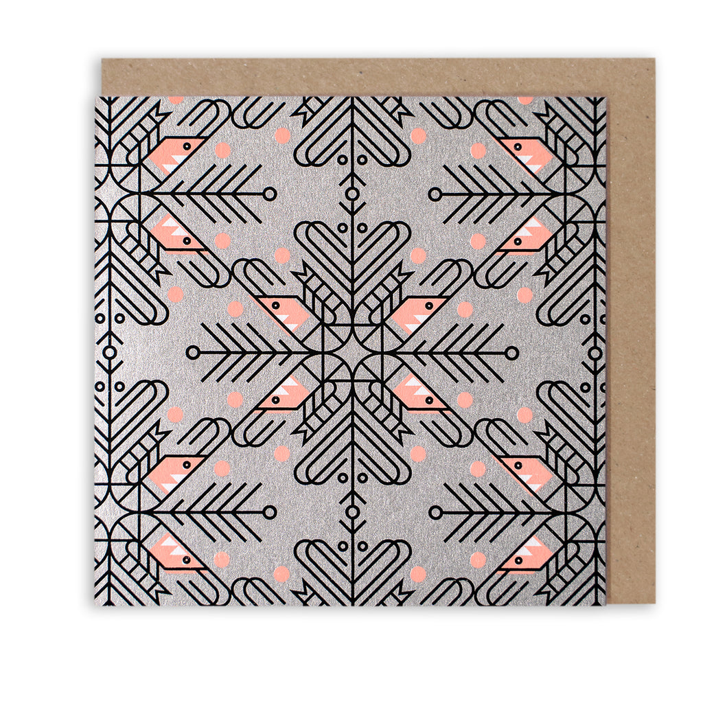 BERT & BUOY CHRISTMAS CARD SHRIMP PATTERN