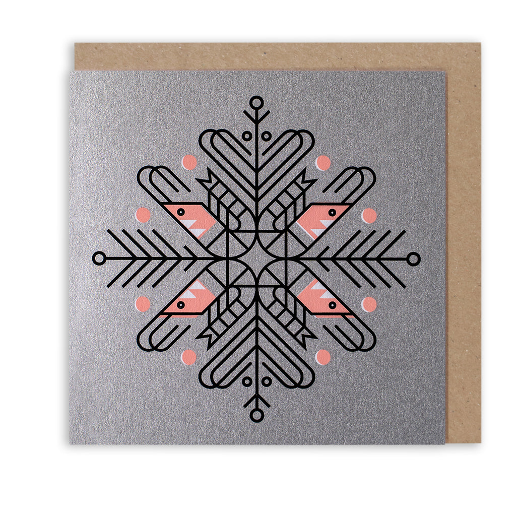 BERT & BUOY CHRISTMAS CARD SHRIMP SNOWFLAKE