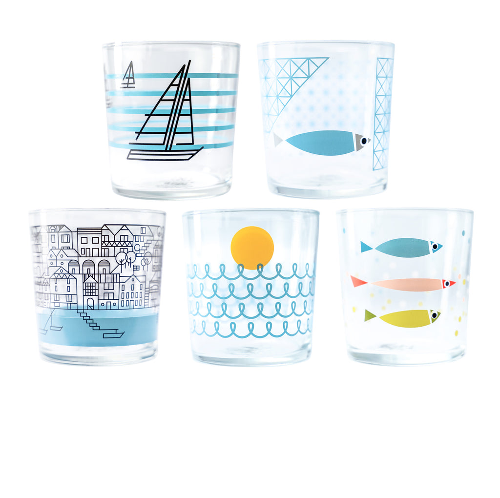 Set of 5 Nautical Niceness Glasses