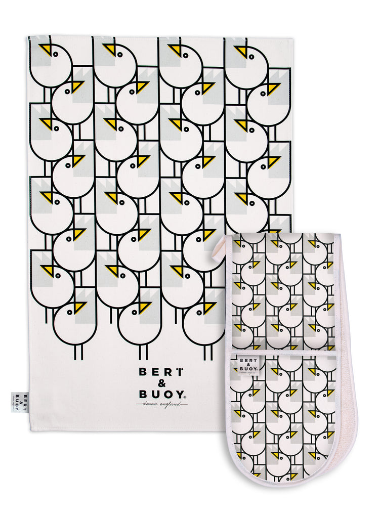 Great Gulls Oven Gloves & Tea Towel Duo