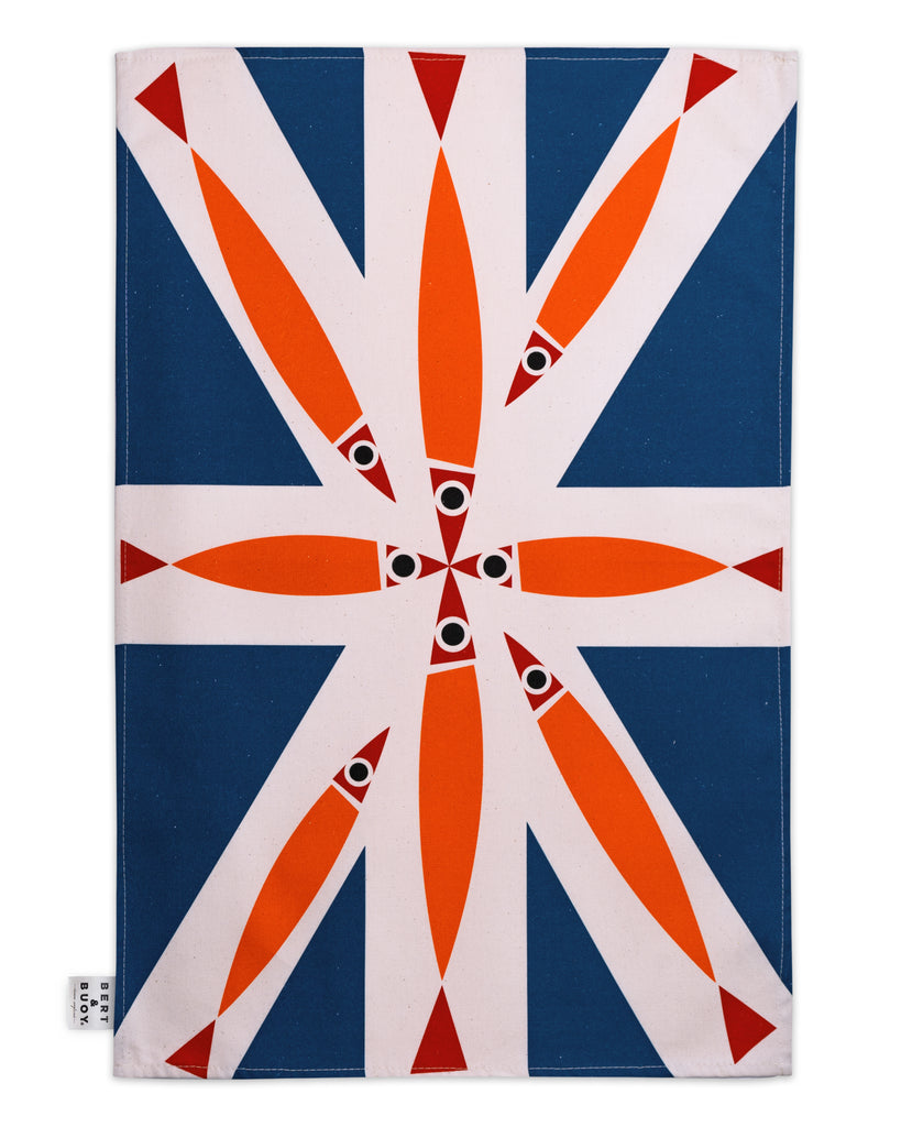 Bert & Buoy Large Tea Towel Fishy Union Jack