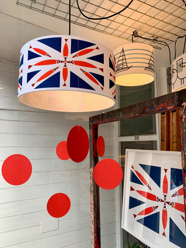 BERT & BUOY DRUM LIGHT & CEILING SHADE FISHY UNION JACK
