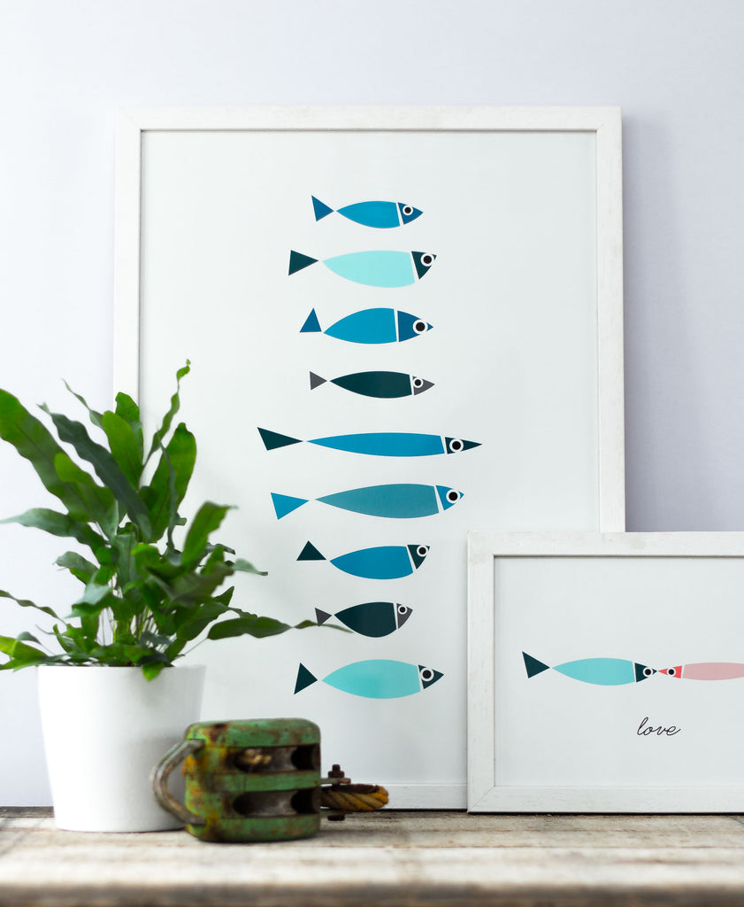 BERT & BUOY WALL ART | BLUE FISHY LINE-UP