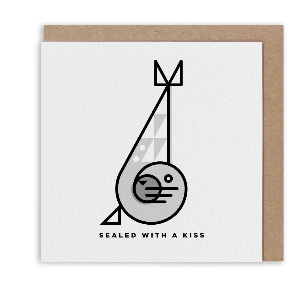SAMMY SEAL KISS NAUTICAL GREETING CARD