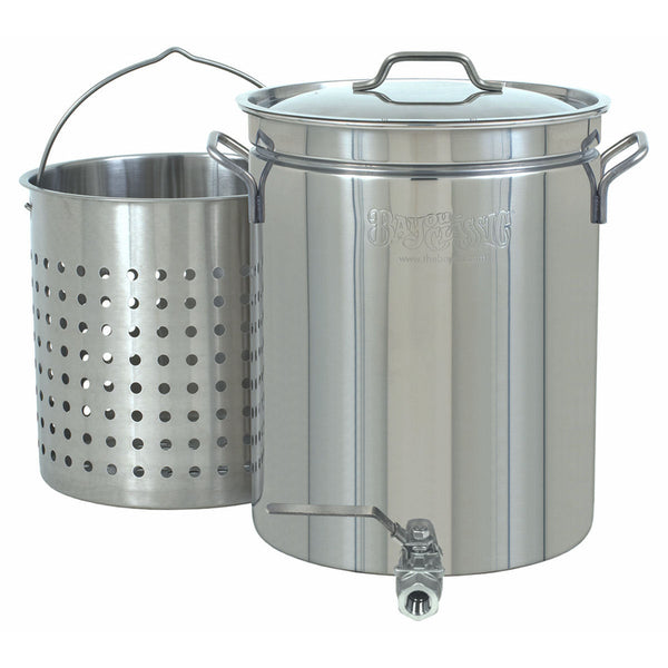 Bayou Classic 10 Gallon Stainless Steel Stock Pot, Spigot and Basket
