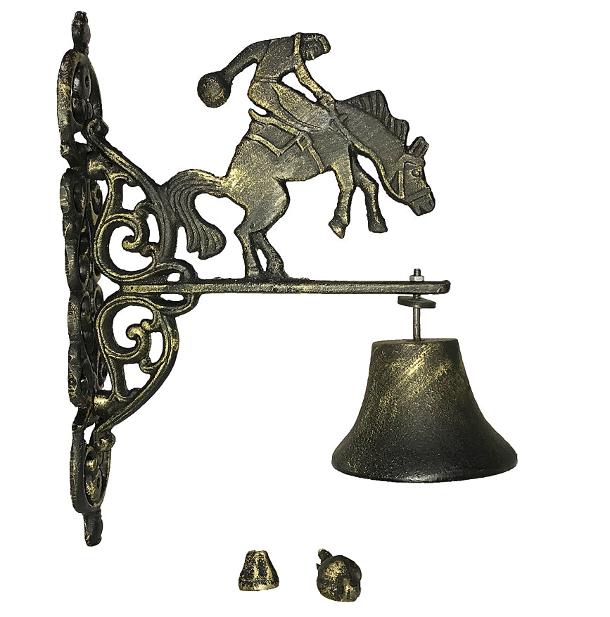 Cast Iron Cowboy Hanging Outdoor Dinner Bell