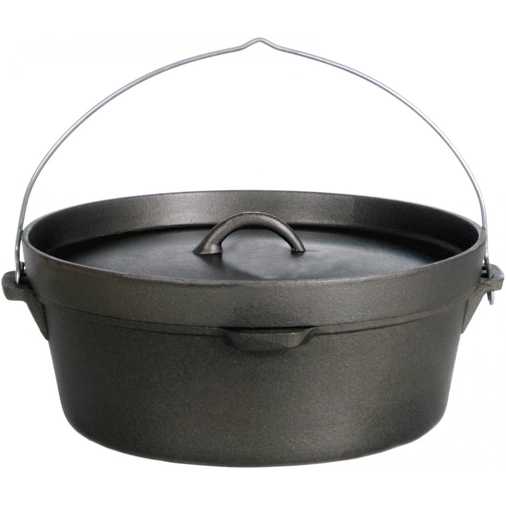 Cajun Classic Seasoned Camp Dutch Oven w/ Biscuit Lid - 6 qt