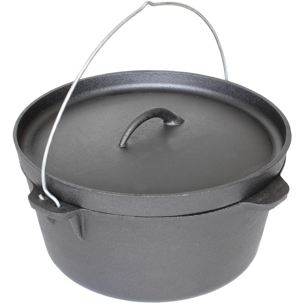 Cajun Classic Seasoned Camp Dutch Oven w/ Biscuit Lid - 16 qt
