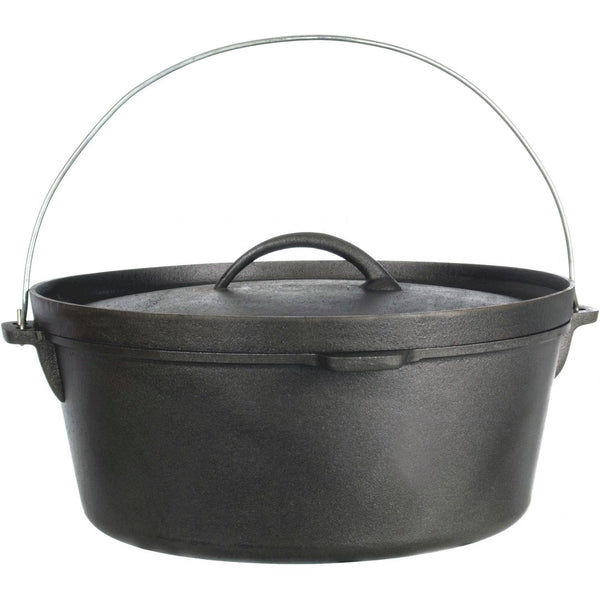 Cajun Classic Seasoned Camp Dutch Oven w/ Biscuit Lid - 12 qt
