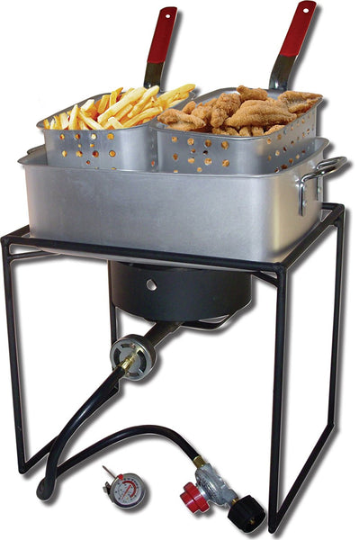 Double Basket Square Fish Fryer Pot Outdoor Cooking Kit