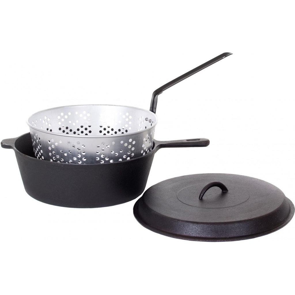 Cajun Classic Seasoned Large Cast Iron Chicken Fryer