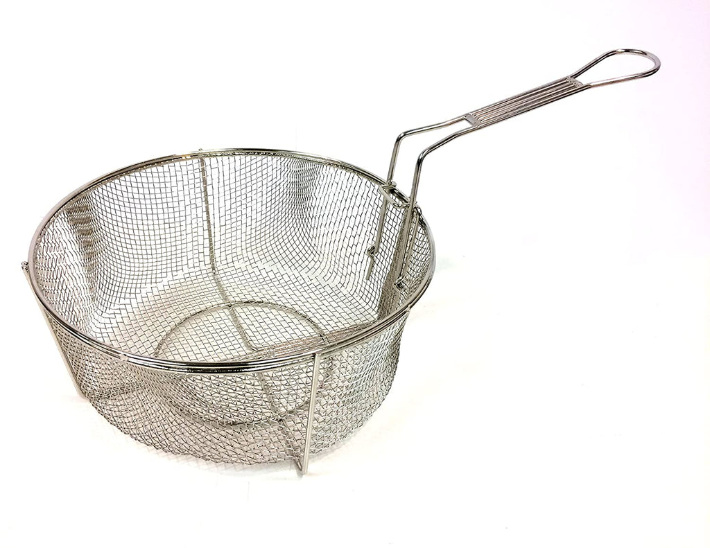 "Bayou Classic 11"" Stainless Fry Basket with Folding Handle"