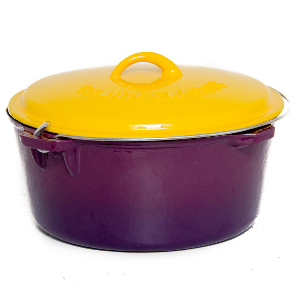 Enamel Coated Purple & Gold Dutch Oven - 12 Quart