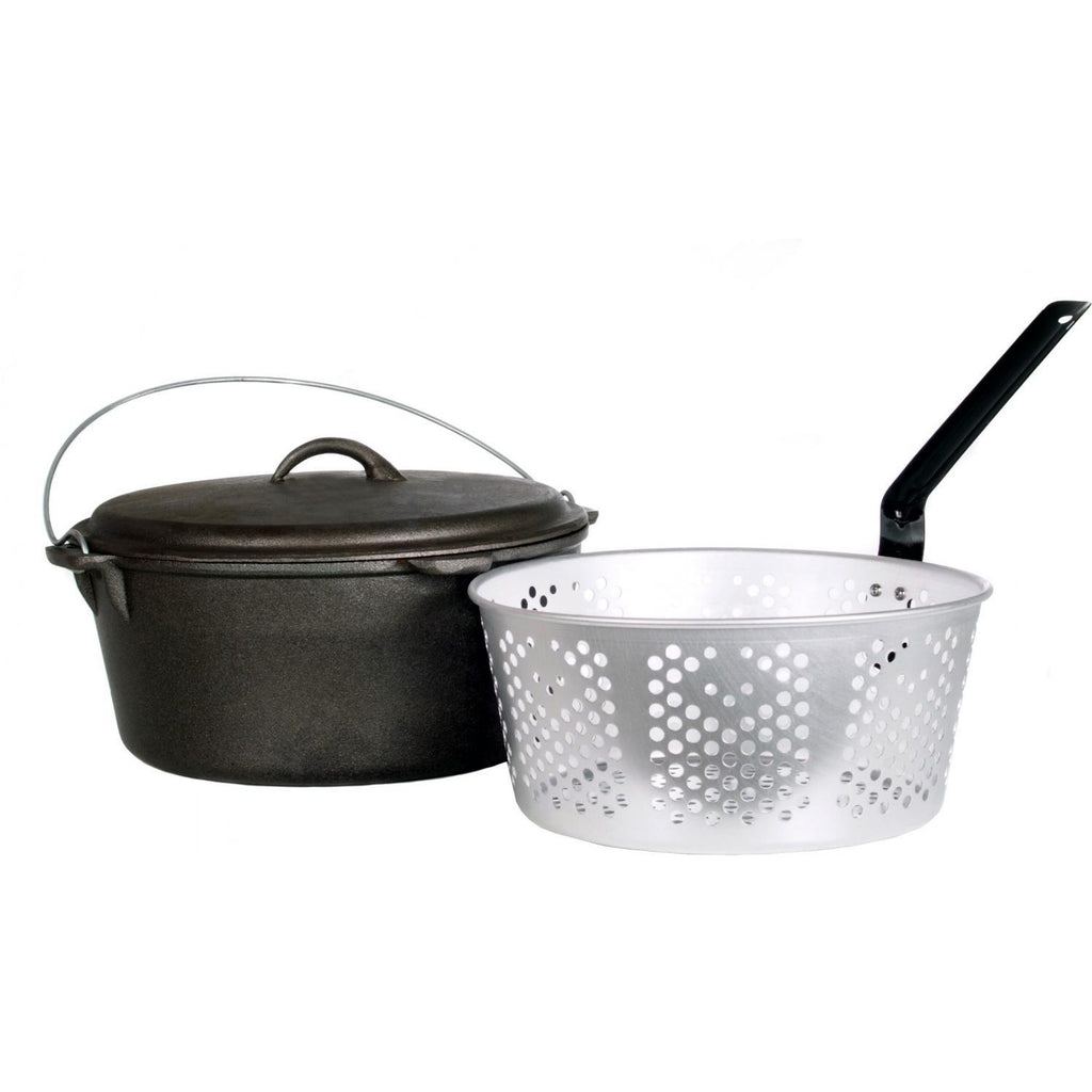 Cajun Classic Seasoned Cast Iron Dutch Oven Pot & Basket - 9 Quart