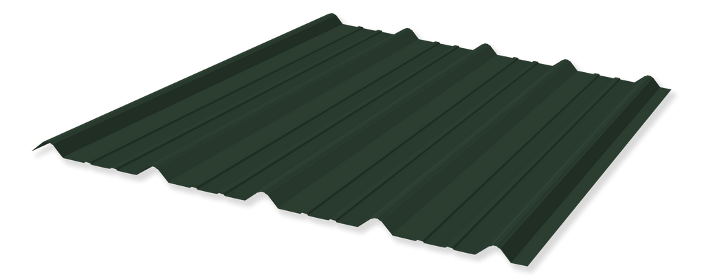 Tuff Rib 3ft wide Forrest Green Metal Roofing Panel starting at 6ft lengths