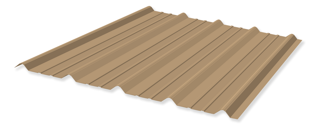 Tuff Rib 3ft wide Mocha Tan Metal Roofing Panel starting at 6ft lengths