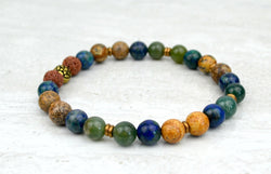 Men's Abundance Intention Stretch Elastic Bracelet Moss Agate Azurite Picture Jasper