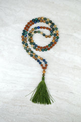 Abundance Men's Intention Mala Moss Agate Azurite Picture Japser