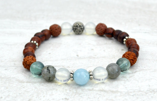 All Is Well Stretch Elastic Bracelet Aquamarine Labradorite Moonstone
