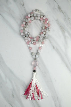Rose Quartz Laughing Buddha Mala