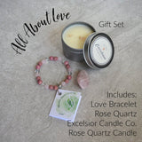 all about love gift set bracelet candle rose quartz
