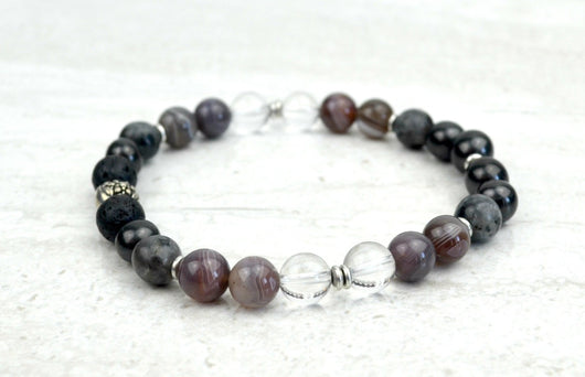 Men's Creating Change Intention Stretch Elastic Bracelet Botswana Agate Shungite