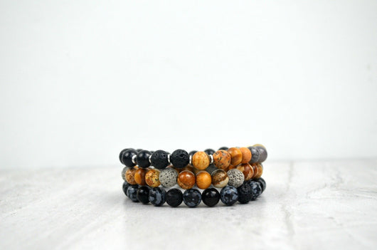 Strength and Courage Diffuser Stretch Elastic Bracelet Stack