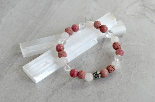 Love Mandala Essence Essential Oil Diffuser Bracelet Rose Quartz