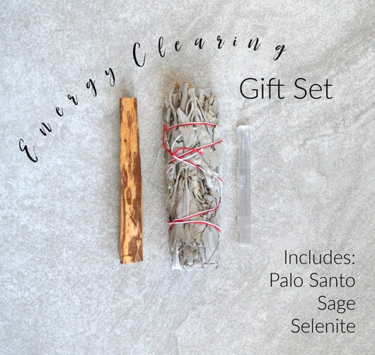 energy clearing gift set palo santo sage selenite