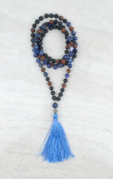 Find Your Voice Men's Intention Mala Sodalite Mahogany Obsidian