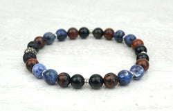 Men's Find Your Voice Intention Stretch Elastic Bracelet Sodalite Mahogany Obisidian