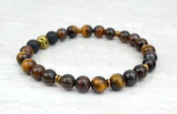 Men's Grit Intention Stretch Elastic Bracelet Tiger Eye Tiger Iron Smoky Quartz