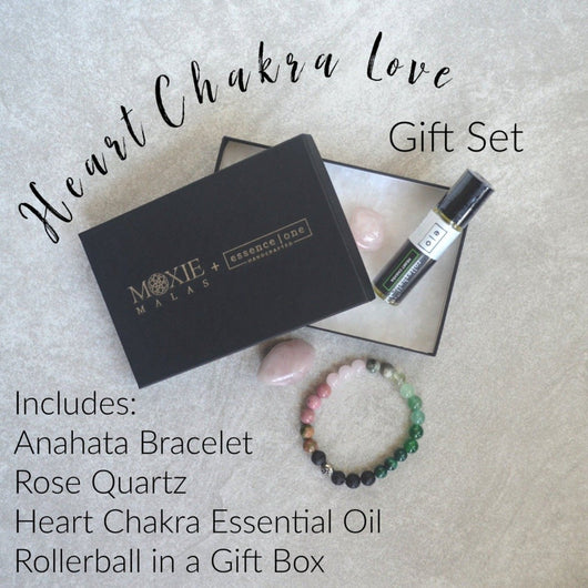 Heart Chakra Gift set anahata bracelet and essential oil rollerball