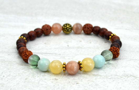 Hope Stretch Elastic Bracelet Sunstone Calcite Fluorite Amazonite