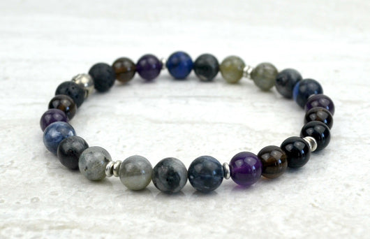 Men's I Am Enough Stretch Elastic Bracelet Smoky Quartz Onyx Labradorite Sodalite Amethyst