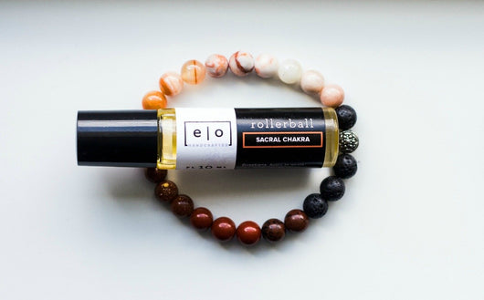 Sacral chakra bracelet and essential oil gift set