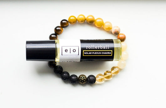 Solar Plexus chakra bracelet and essential oil gift set