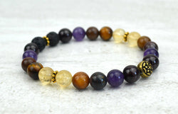 Keep Going Intention Stretch Elastic Bracelet Citrine Garnet Amethyst Tiger Eye Iron