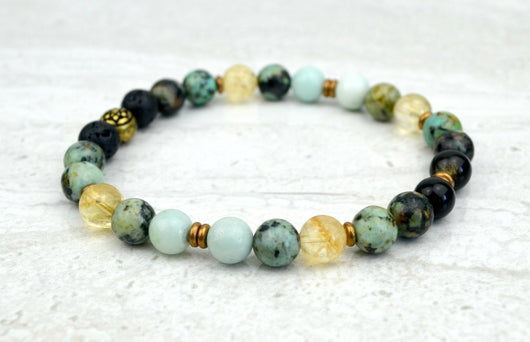 Men's Peace and Calm Stretch Elastic Bracelet Citrine Amazonite African Turquoise