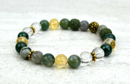 Prosperity Intention Stretch Elastic Bracelet Citrine Moss Agate Malachite Labradorite Crystal Quartz