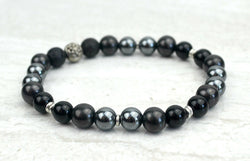 Men's Steady Intention Stretch Elastic Bracelet Onyx Hematite Shungite