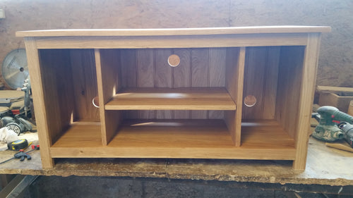 Solid Oak TV unit with speaker gaps