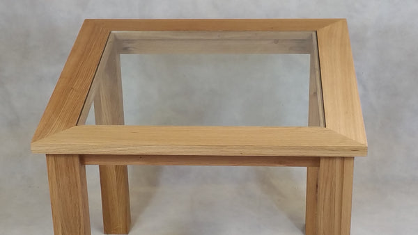 Workshop discount special,  Oak glass top table 1000mm ideal for the, living room, lounge or conservatory.