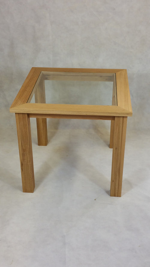 Oak glass top table 600 to 1000mm ideal for the, living room, lounge or conservatory.