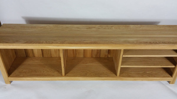 Long, Low, Narrow Oak TV unit in 3 sections