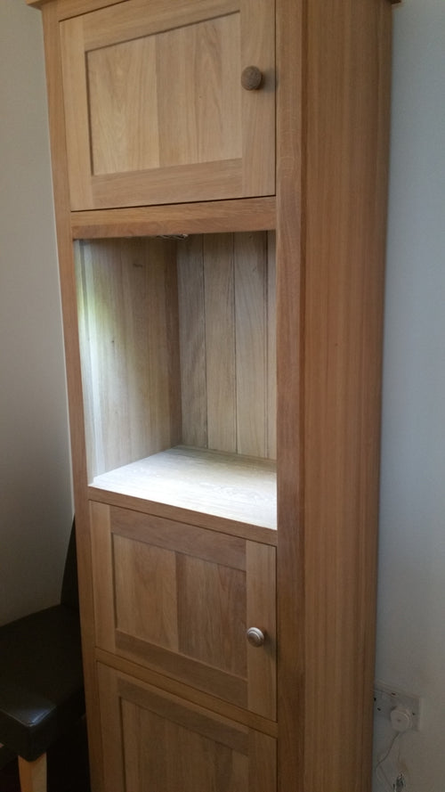 Extra Special Tall Display Cabinet with light white Oak finish