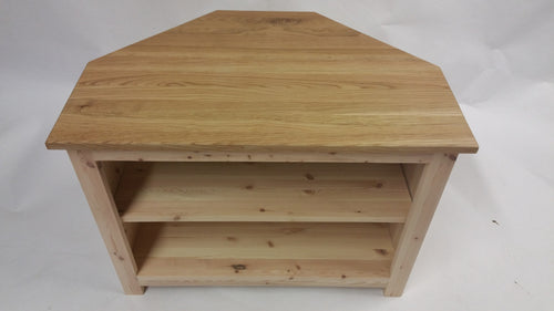 Oak Top, Pine Corner TV unit with 1 adjustable shelf